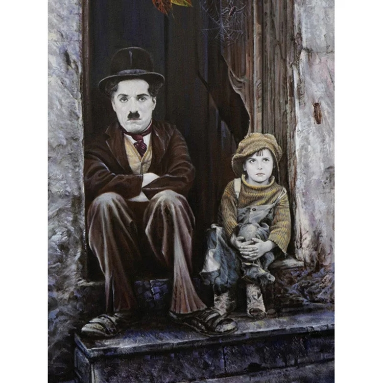 Diamanttavla Chaplin And Boy 40x50