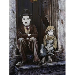 Diamanttavla Chaplin And Boy 40x50