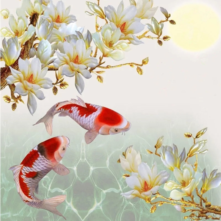 Diamanttavla Koi Fishes 50x50