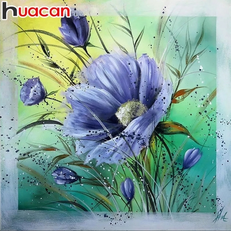 Diamanttavla Blue Spring Flower 40x40