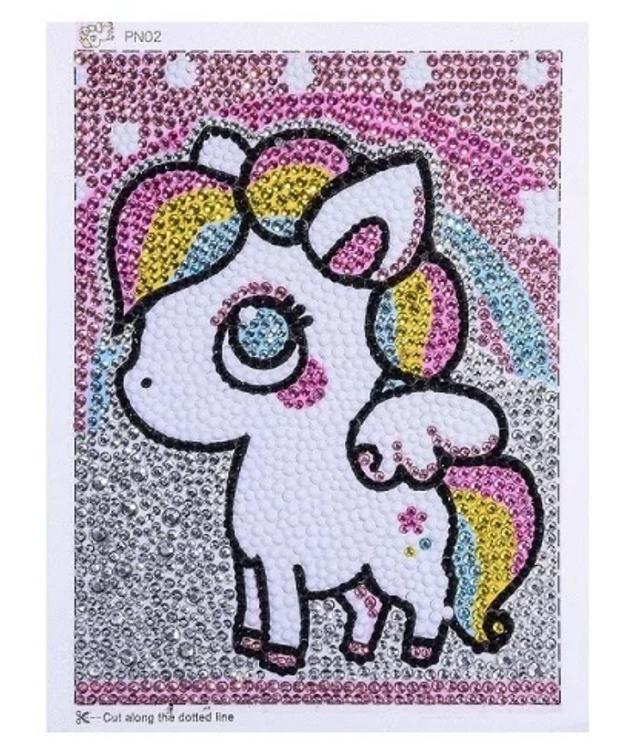 Diamanttavla Med Ram Rainbow Pony 15x20