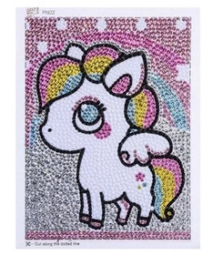 Diamanttavla Med Ram Rainbow Pony 15x20