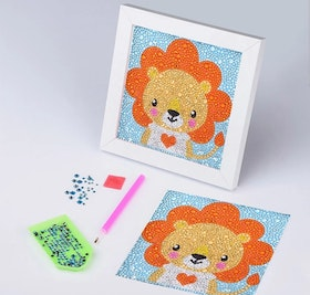 Diamanttavla Med Ram Lion 15x15