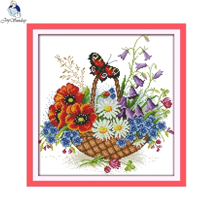Korsstygnstavla Flowers And Butterfly