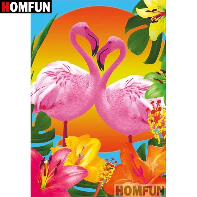 Diamanttavla Flamingo Exotic Flowers 30x40