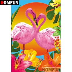 Diamanttavla Flamingo Exotic Flowers 30x40