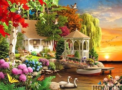 Diamanttavla Flower House By The Lake 40x50