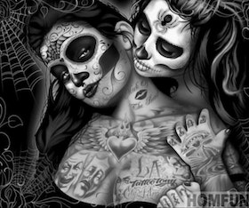 Diamanttavla Tattoo Skull Girls 40x50