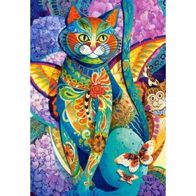 Diamanttavla Cat With Wings 40x50