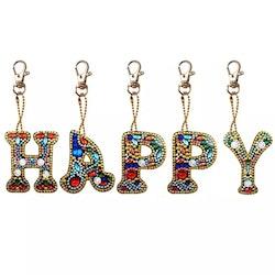 Nyckelring Bokstav HAPPY