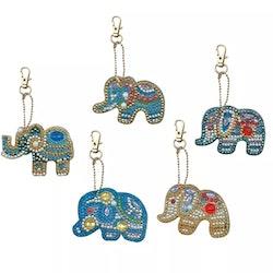 Nyckelringar Elefanter 5-Pack