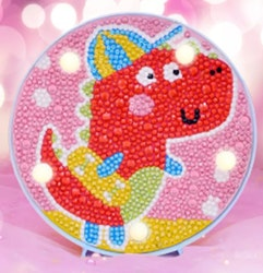 Diamond Painting Ledlampa Dino 15x15