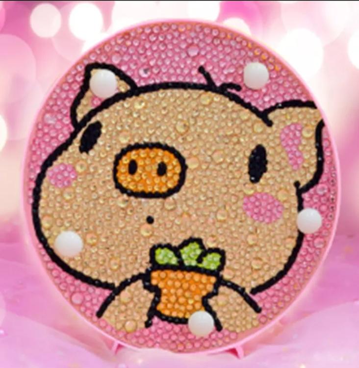 Diamond Painting Ledlampa Piggy 15x15