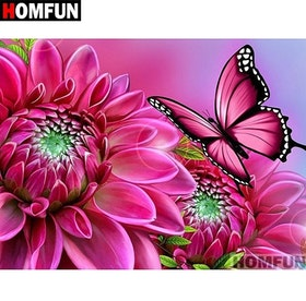SNART I BUTIK - Diamanttavla Pink Butterfly Flower 30x40