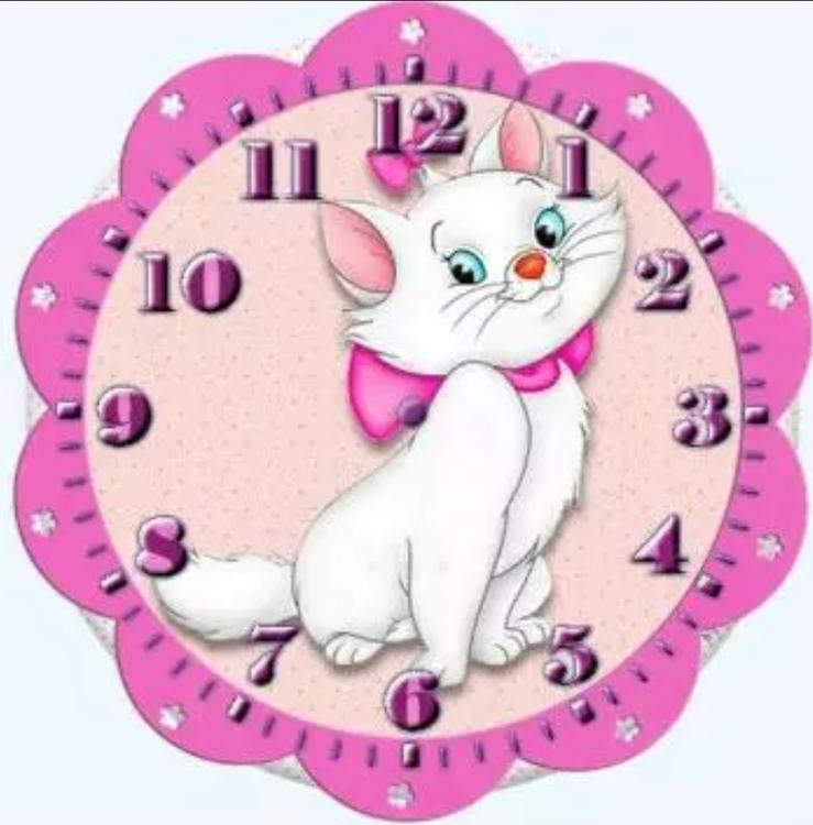 Diamanttavla Klocka Marie The Cat 40x40