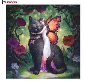 Diamanttavla (R) Cat And Fairy 40x40