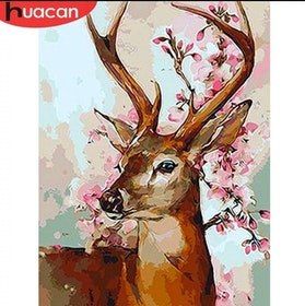 Diamanttavla Deer With Flowers 40x50