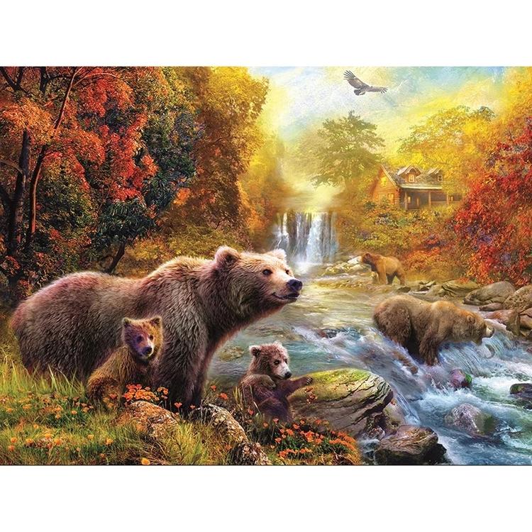 Diamanttavla River Bears 40x50