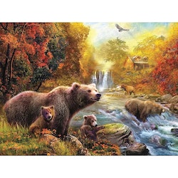 Diamanttavla River Bears 40x50