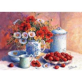 Diamanttavla (R) Berries And Flowers 40x50