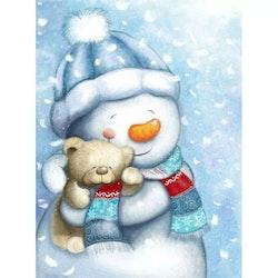 Diamanttavla (R) Snowman And Teddy 30x40