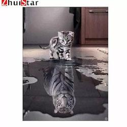 Diamanttavla Katt Med Tigerspegelbild 40x50