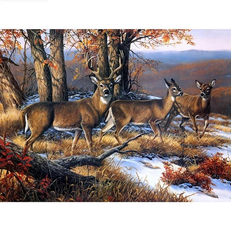 Diamanttavla Deer On Mountain 50x70