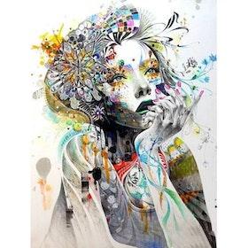 Diamanttavla Painted Flower Girl 40x50