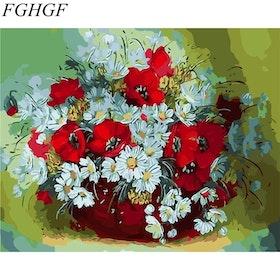 Paint By Number Röda Och Vita Blommor