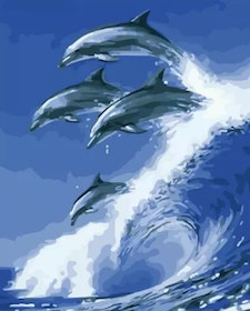 Paint By Numbers Dolphins Wave 40x5