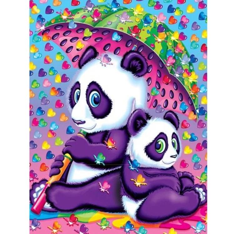 Diamanttavla Colorful Panda Umbrella 30x40