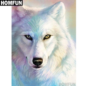 Diamanttavla (R) Snow Wolf 40x50