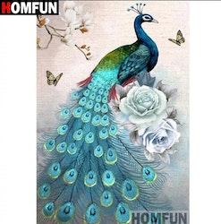 SNART I BUTIK - Diamanttavla Peacock Blue Roses 40x50