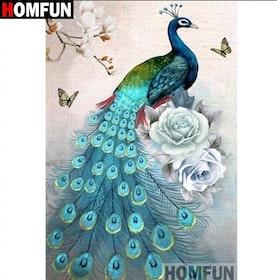 SNART I BUTIK - Diamanttavla (R) Peacock Blue Roses 50x70