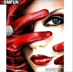 SNART I BUTIK  - Diamanttavla Woman Red Gloves 30x40
