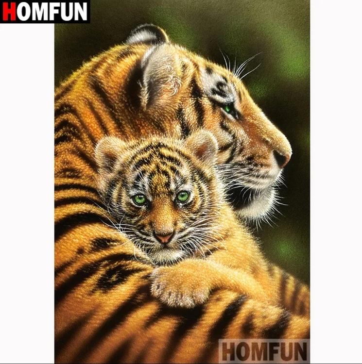 Diamanttavla (R) Tiger Hug 40x50