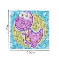 Diamanttavla Med Ram Pink Dinosaur 15x15