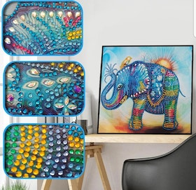 Diamanttavla Special Cute Color Elephant 30x30
