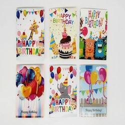 Födelsedagskort Ballonger 6-Pack