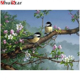 Diamanttavla Fåglar I Äppleträd 40x50