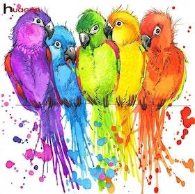 Diamanttavla Color Parrots 40x40