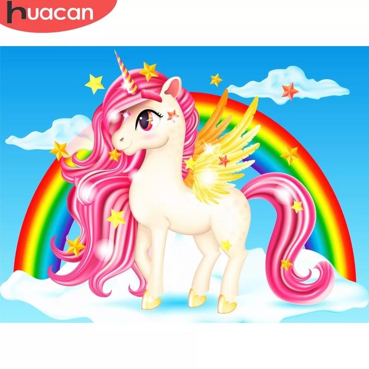 Diamanttavla (R) Unicorn And Rainbow 40x50