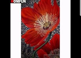 Diamanttavla Red Flower 30x40