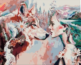 Paint By Number Woman And Wolf 40x50