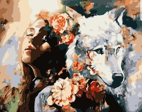 Paint By Numbers Flowergirl And Wolf 40x50