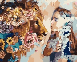 Paint By Numbers Woman And Lion 40x50
