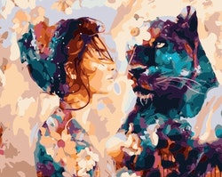 Paint By Numbers Woman And Panther 40x50