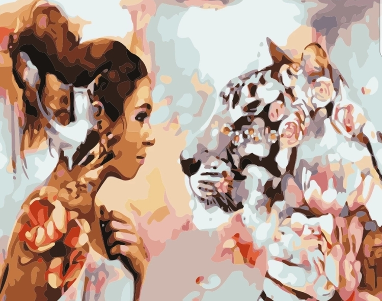 Paint By Numbers Woman And White Tiger 40x50