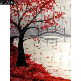 Diamanttavla The Autum Tree 40x50