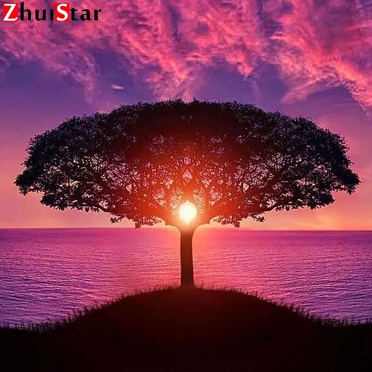 Diamanttavla Sunset Tree 50x50